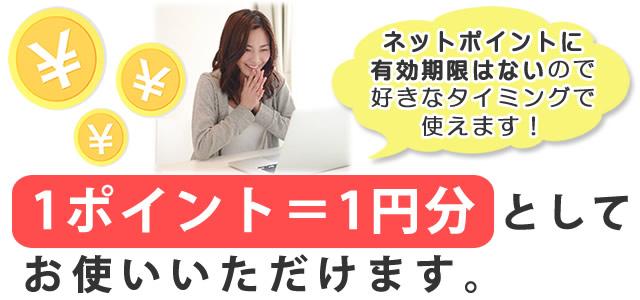 1ポイント=1円分としてお使いいただけます。ネットポイントに有効期限はないので、好きなタイミングで使えます!